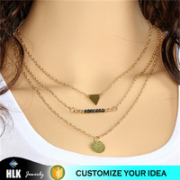 wholesale vermeil jewelry eminem necklace multilayer triangle sequin necklace