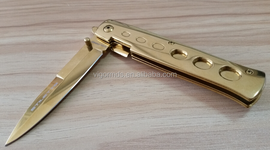 "(PK-ST150G) 5"" Speed Opening Italian Godfather Gold Ti-Coated Stiletto"