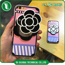 Mobile phone hanging accessories with camellia flower design cosmetic mirror phone case for iphone 6 mirror case with neck strap