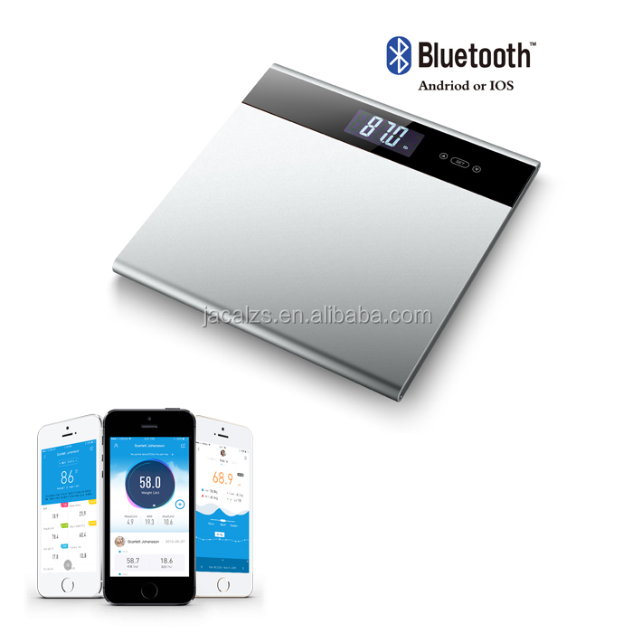 Full aluminium 2017 Amazon Hot Sell Smart Digital Weighing Scale Bluetooth Body Fat Scale with iOS&Android