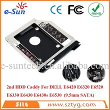 Hot Sell E6420 2nd HDD Caddy/ SATA E6430 DVD Caddy/ 2nd Hard Drive Enclosure For E6520 E6330 E6430