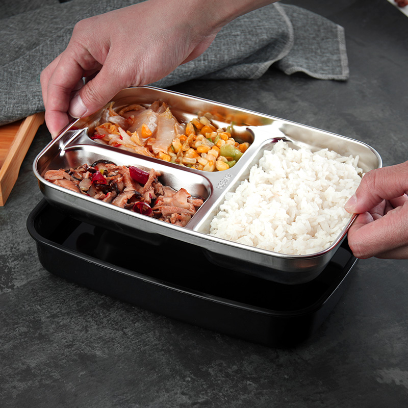 2019 pink black brown blue custom <strong>plastic</strong> 304 stainless steel 3 compartment bento lunch box