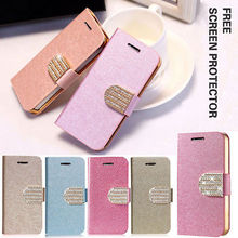 SILK LEATHER WALLET BLING SHINING DIAMOND FLIP CASE COVER FOR iphone 5 5S