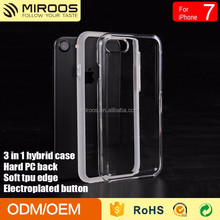 New Design 3 in 1 Hybrid Phone Cover PC Back+ TPU Edge + Electroplated Button Combo Case For iPhone 7