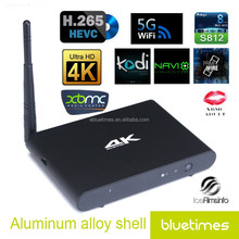 Free fly air mouse for Android KitKat 4.4 Amlogic S812 2G/16G kodi high quality smart tv box Metal casing housing