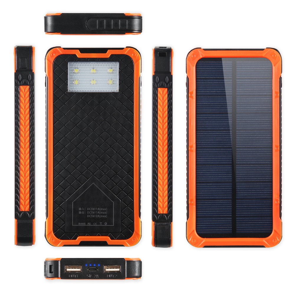 Solar power bank 10000mah powerbank portable charger extra external battery for mobile phones