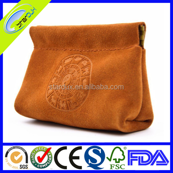 Suede drawstring cosmetic bag customized 2017