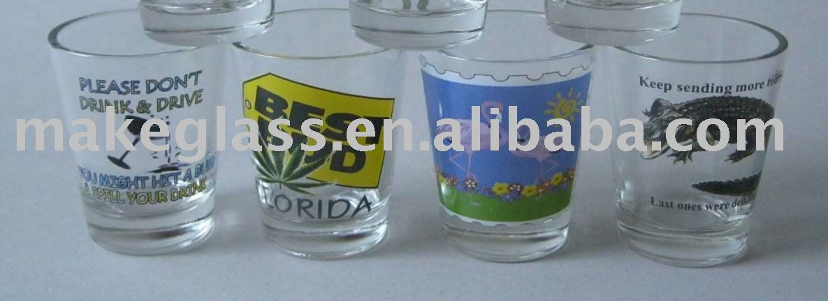 shot glass with color printing,1.5oz wine glass,glassware