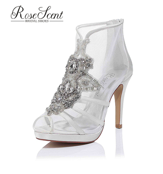 Hot sale mesh peep toe Ivory Satin Wedding Dress Bridal Shoes