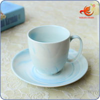 WKT024MB with customized logo printed restaurant ceramic clay cup
