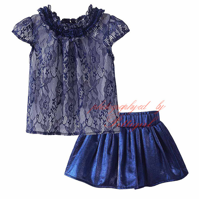 Pettigirl Latest Girls Clothing Suits Lace Top And Skirt Elegant Summer Kids Sets Wholesale Baby Wear CS81207-13L