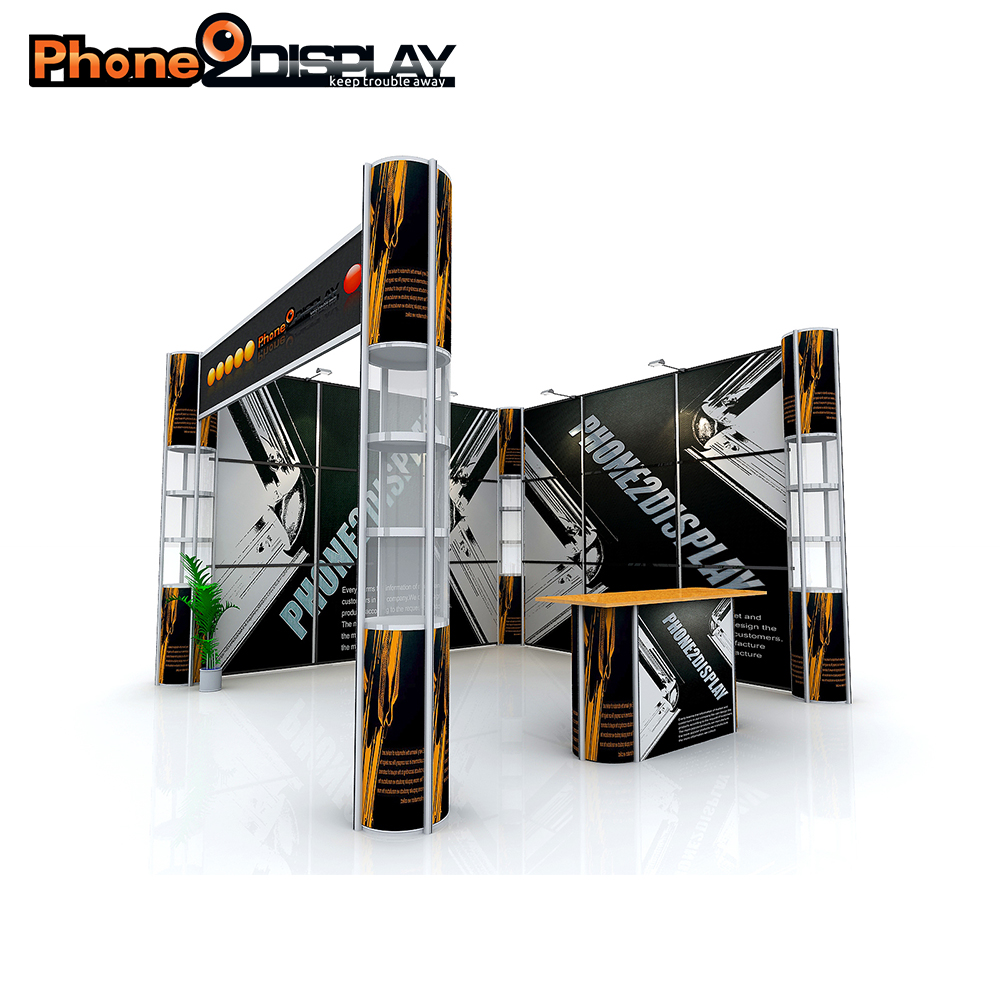 3*6 Portable Aluminum frame Exhibition booth with twist showcase stands and fabric banner wall easy set up recycling and reuse.