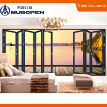 Indoor heavy weight transparent glass built in blinds design aluminium folding doors for residential