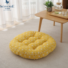 Soft cotton flax futon pad round seat cushion