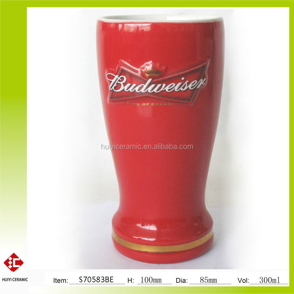 Embossed and decal Budweiser ceramic beer mug without handle