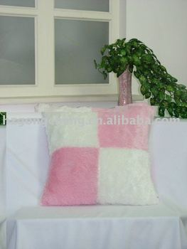 patchwork plush cushion