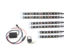 6 PCs 50w Music Controller+RGB Motorcycle LED Strip Light Kit Motorbike Changeable color Decorative strip light
