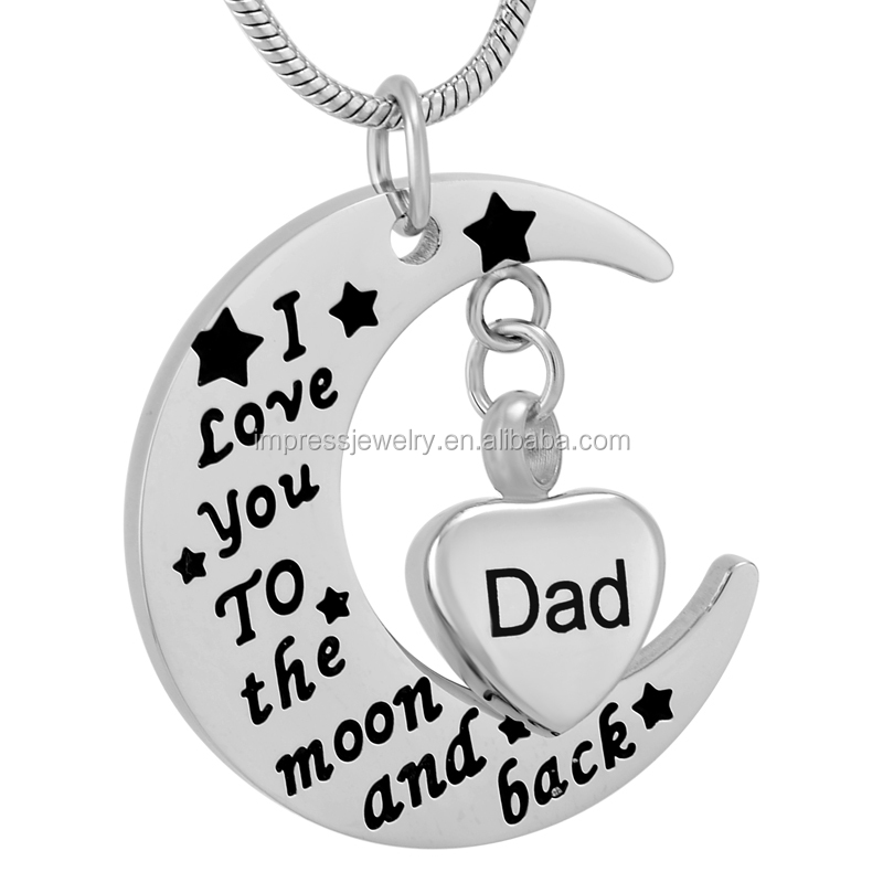 IJD9737 Dad Small Heart Locket Charm With I Love You To The Moon And Back Moon Stainless Steel Memorial Ashes urn jewellery