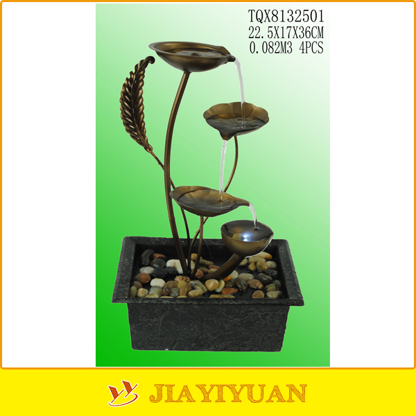Housing decorative plant led light metal water fountain