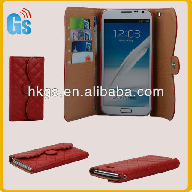 Leather Case Flip Cover Protector Clutch Wallet Diary Red for Galaxy Note 2 II