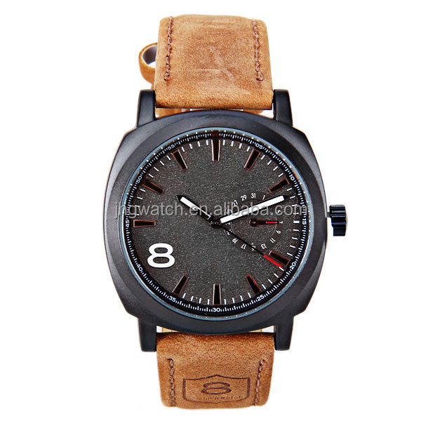 OEM fashion sport genuine leather band men's wrist watches