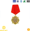 Chinese factory made custom gold metal medal with short ribbon badge