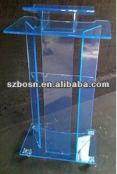 Simple design acrylic blue lectern;Acrylic pulpit;Perspex podium;