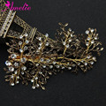 Vintage Women Barrettes Leaf Branch Hair Clip Rhinestone Wedding Hair Jewelry Anniversary Headpiece Antique Gold Color