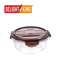 High Borosilicate Glass Vacuum 2 Compartment with Fork and Spoon Food Container