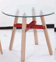 high quality modern round glass top table with wooden legs