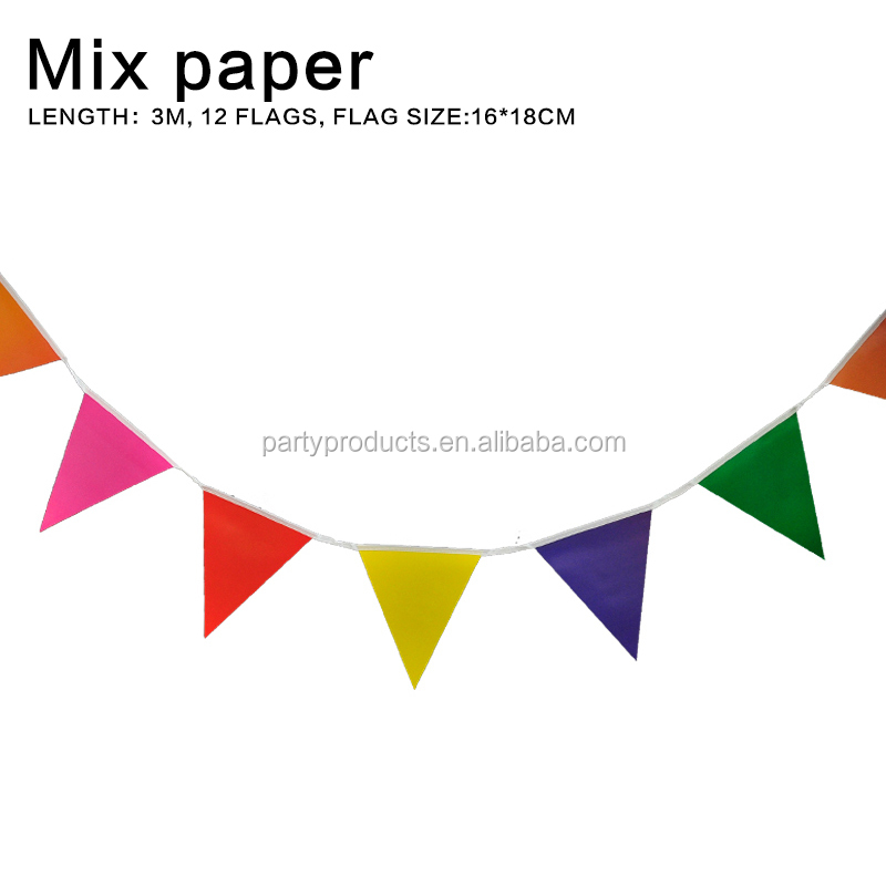 Colors Wedding supplies paper banner wedding bunting flags party decoration garland paper