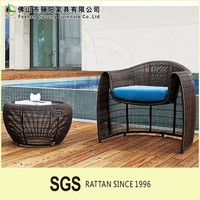Favourable Price Delicacy Handmade Outdoor Rattan Furniture , Durable And Utility Garden Wicker Single Sofa And Foot Stool