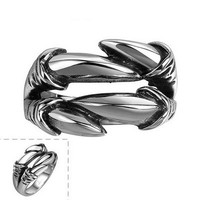 High Polished Titanium Steel Animal Dragon Claw Shaped Factory Ring