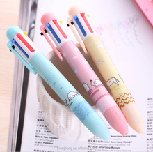 Cute cartoon pinky push ball pen 6color in one pen