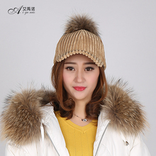 Fashion High Quality Corduroy Peaked Cap With Real Raccoon Fur Ball Hat Women's Autumn Winter Wear
