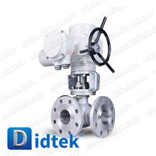 Didtek 100% Test Gear Operated Flanged Pneumatic 3 Way Ball Valve