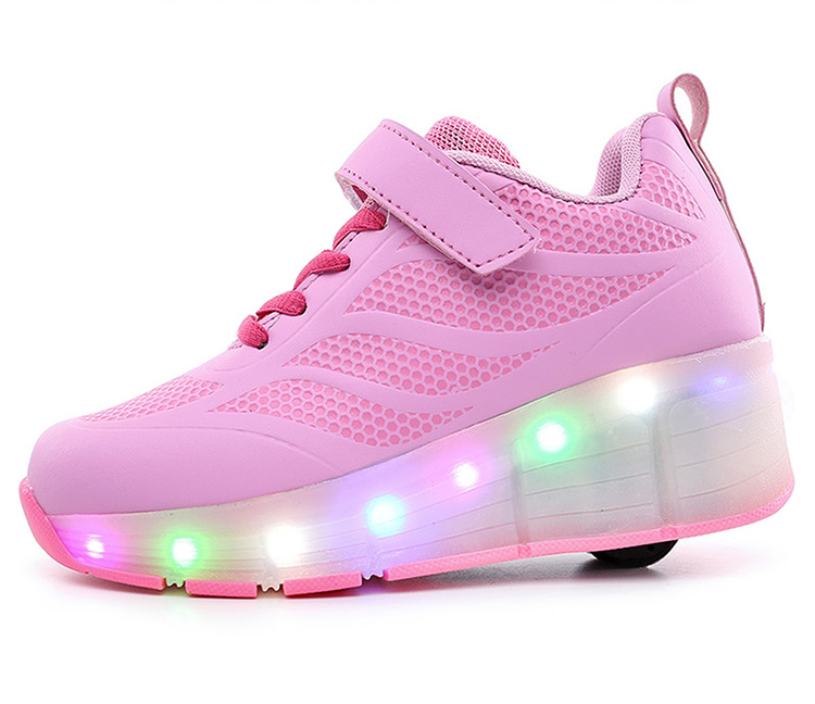 Customizied brand retractable roller skate shoes,fashion 1 wheel skate flash light up shoes for boys and girls