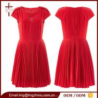 New Arrival Luxury Red Pressure Plait Fashion Ladies Dresses