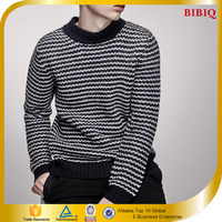 Latest Style Crew Neck Jumper Black and White Striped Sweater for Men