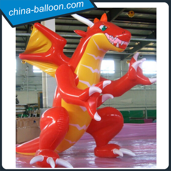 PVC 4m inflatable dinosaur model/red fiery cartoon dragon for advertising