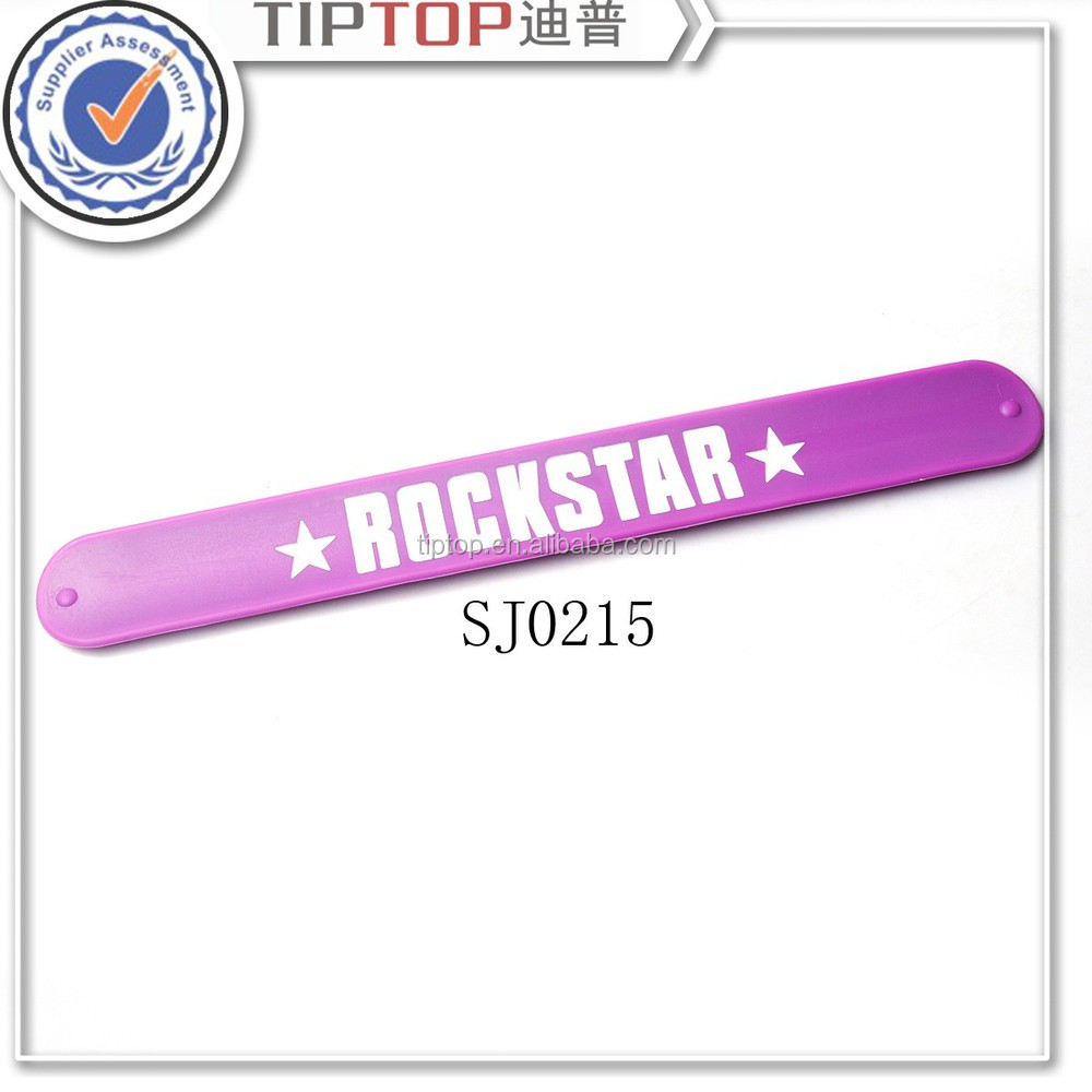 wholesale promotional custom printing silicone slap bracelet