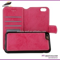 [Somostel] Separate bodies wallet leather case with printing for iphone 4 4s 5 5s 5c 6 6s for samsung flip cases cover