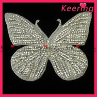 large size gorgeous butterfly rhinestone applique for wedding dress WRA-045