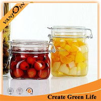 750ML Square Glass Jar Locking Lid Wholesale