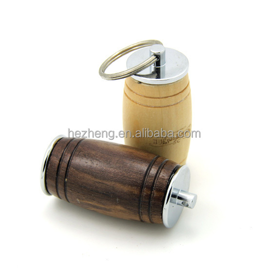 Custom 32GB Wooden barrel USB pen drive with keyring
