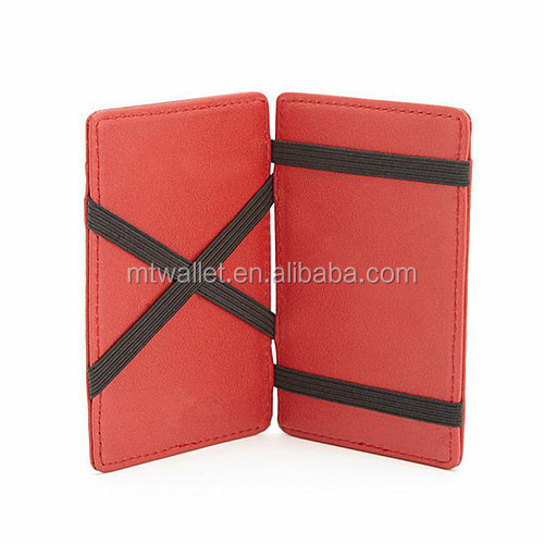 Fancy unisex high quality imitation fake leather magic wallet with credit card slots customized logo available price