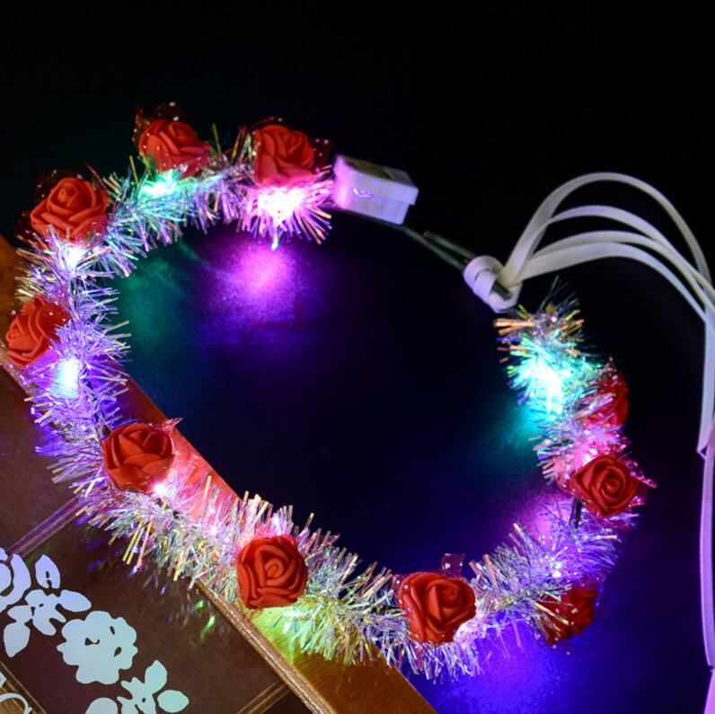 Free shipping MOQ 50 Party Hair Accessories Flower Crown Flashing Summer Promotion Gift LED Hairbands Decorative Flower Wreath