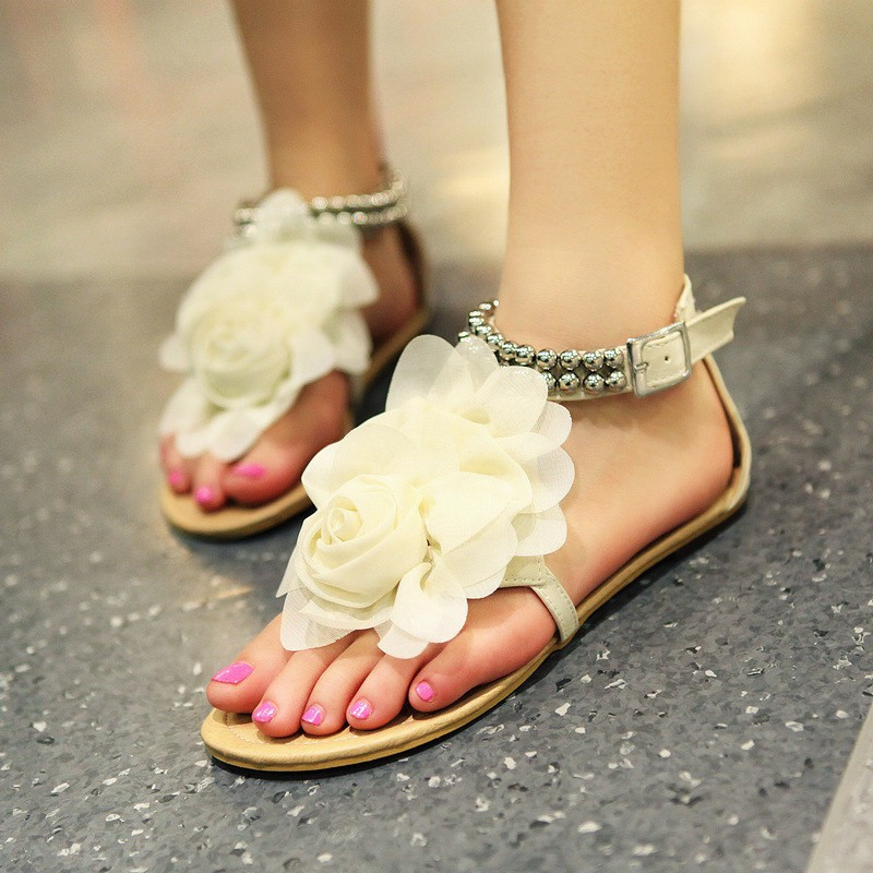 New Summer Women Girls Flats Toe-post Beaded Flower Flip-flop Sandals Shoes Beige