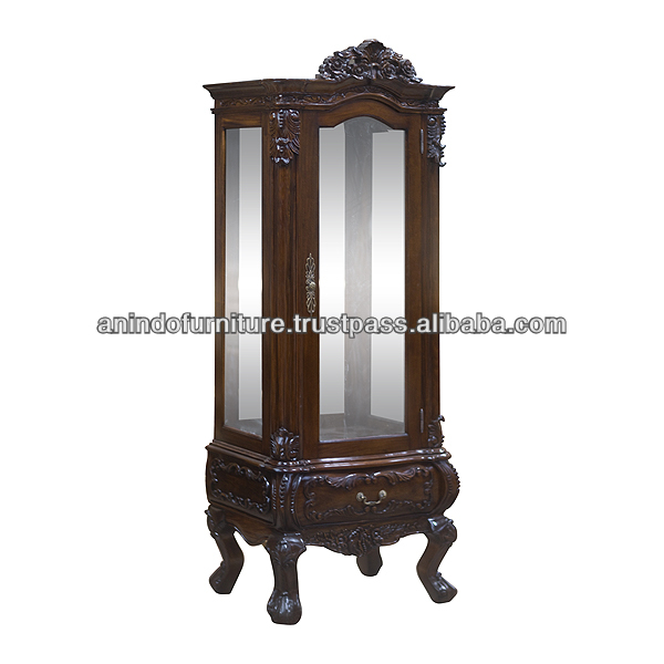 Mahogany Carved China Cabinet with 1 Door and 1 Drawer