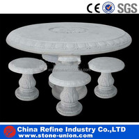 Round White Marble Table and Stools